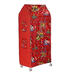 Archana Novelty Plastic Folding Kids Almirah ( 5 Shelf, Red)
