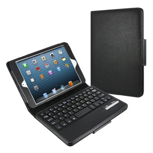 minisuitApple iPad mini ワイヤレス キーボード付き スタンド ケース Bluetooth使用 手帳型 ブラック
