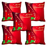 MeSleep Red Merry Christmas Cushion Cover (16x16)