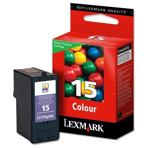 1x Original Tintenpatrone für Lexmark X 2670, Z 2300, 2310, 2320, Nr. 15 - Color + 100 Blatt Ti-Sa Fotocards 10x15 cm 210g glossy
