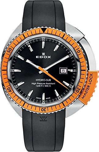 Unisex-reloj EDOX hidrografía SUB analógico de cuarzo de caucho 53200 3OCA NIN