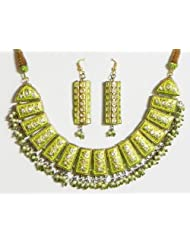 Light Green With Golden Meenakari Necklace Set - Lac, Beads And Stone