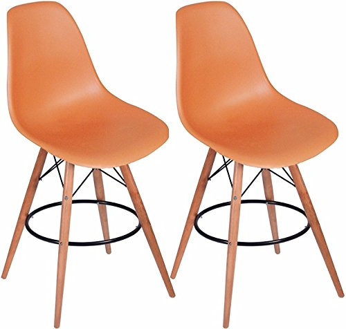 Mod Made Paris Tower Barstool, Orange, Set of 2