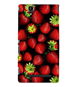printtech Strawberry Fruits Back Case Cover for Sony Xperia T2 Ultra Dual