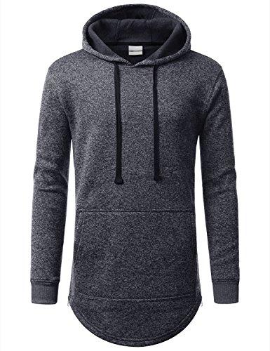 URBANCREWS Mens Hipster Hip Hop Marled Fleece Pullover Hoodie Jacket NAVY, XL