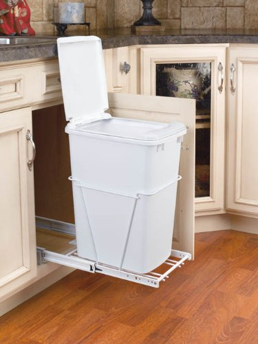 Rev-A-Shelf 35Qt Pull-Out Waste Bin with Lid White