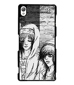 Fuson Black & White Couple Back Case Cover for SONY XPERIA Z3 - D3823