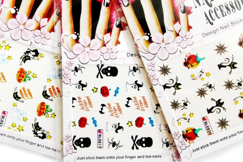 Halloween Nail Art Water Tattoo Stickers Decals - 3 pack mixed design with Bonus Flower Stickers
