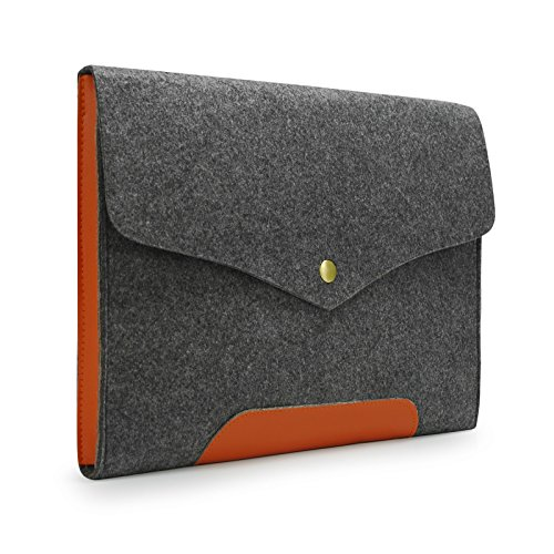 Sinoguo Gray Felt & Leather Case Sleeve Pouch for 13 Inch Lenovo Yoga 2 Pro/s300/U300S/U310/U330/Yoga 13/, Handmade Laptop Bag cover for 13 Inch ASUS vivobook S300k/VivoBook S300CA/UX32VD/Transformer