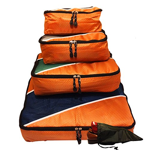 Evatex Packing Cubes | Travel Packing Cubes 4Pc Eva-Orange Set With Free ♥ Shoe Bags | Packing Cubes For Travel | Packing Cubes Organizer ♥ | Multi-Purpose Use, Packing Cubes Large,| Travel Organizer Bags | Travel Organizer Cubes |Packing Cubes Small, Cos front-59533