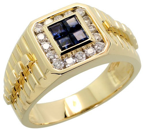 "14k Gold Watch Band Style Men's Diamond Ring, w/ 0.42 Carat Brilliant Cut Diamonds & 0.78 Carat Princess Cut Blue Sapphire Stones, 1/2"" (12mm) wide, size 9.5"