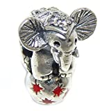 Pro Jewelry 925 Solid Sterling Silver Circus Elephant with Crystal CZ Charm Bead