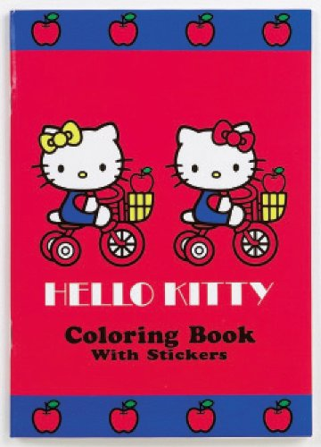 Hello Kitty Coloring Book & Red Stickers With Apple Design