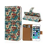 Peach Blossom Folio Flip Card Slot Bag Wallet Leather Stand Case For Iphone 5S 5 - Green