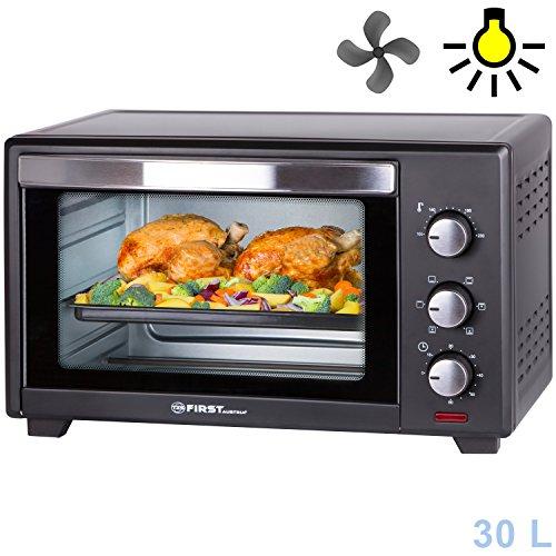 30 litres | Four avec éclairage intérieur et chauffage tournant | Mini four à pizzas | 1600 Watt | Porte à double vitrage | Minuterie