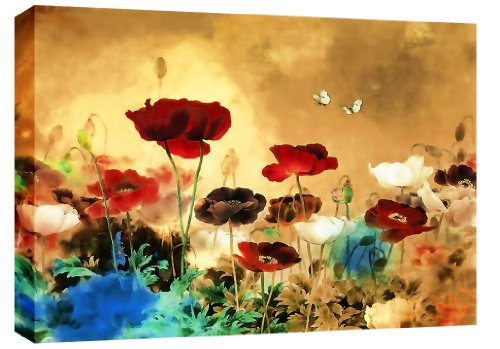 LARGE CHINESE CANVAS ART FLORAL PAINTING BOX CANVAS 30 X 20 INCHES READY TO HANG
