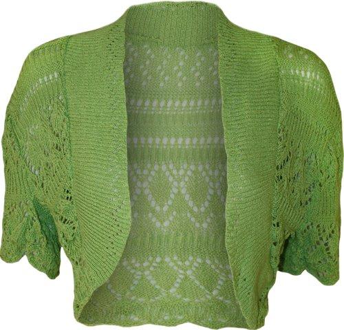 Wearall Women'S Crochet Knitted Short Sleeve Bolero - Lime - Us 12-14 (Uk 16-18)