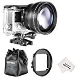 Neewer® 52MM High Definition Telephoto Lens Kit for Gopro Hero 3+/4, Kit includes: (1)52MM 2X High Definition Telephoto Lens(including Lens Bag) + (1)52mm Lens Filter Ring Adapter + (1)Microfiber Cleaning Cloth