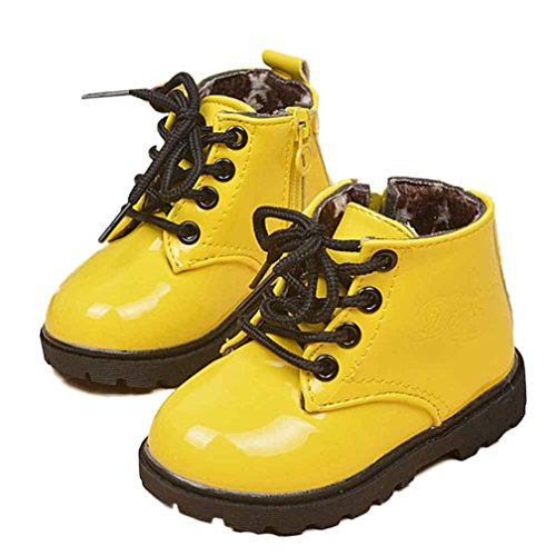 Tenworld Winter Baby Kids Boys Girls Shoes Lace-up Army Martin Boots (21, Yellow)