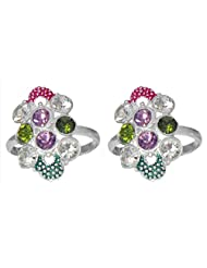 DollsofIndia White And Multicolor Stone Studded Toe Ring - Stone And Metal - White
