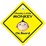 Cheeky Little Monkey On Board Car Sign Yellow Cheeky Monkey On Board Car Sign Baby on Board Sign Style baby on board baby sign baby car sign decal Novelty Car Sign Bumper Sticker Style Funny Car Signs