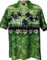 Exclusive Hawaiian Sunset In Paradise Aloha Shirtin Green (XL)