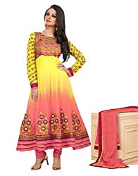 Idha Yellow Semi-Stitched Embroidered Salwar Suit For Women