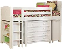 Big Sale Bolton Furniture 9811500LS8015 Cottage Low Loft Bed with Wakefield 5-Drawer Dresser and Two Bookcases, White