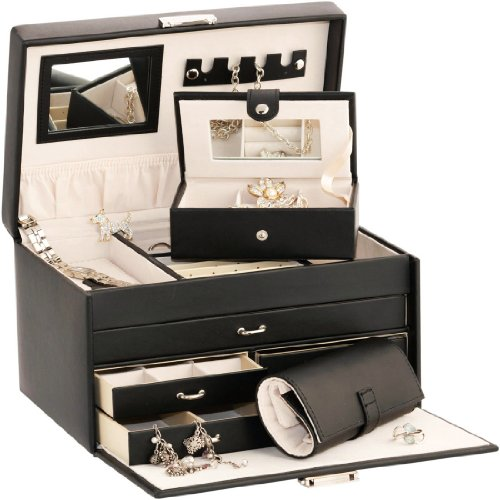 Duchess Black Leather Jewellery Box with Separate Traveller and Jewellery Roll by Mele  &  Co
