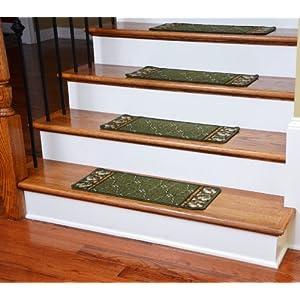Washable Non Skid Carpet Stair Treads Trellis Green 13
