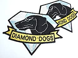 DIAMOND DOGS METAL GEAR SOLID COSPLAY TACTICAL MORALE BADGE PATCH (2 VELCRO BACKED BADGES) - by ONEKOOL