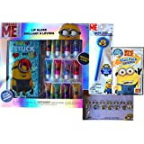 Despicable Me Minions Super Lip Gloss Gift Set With Minion Case Days Of The Week Sticker Earrings And Ring Set...