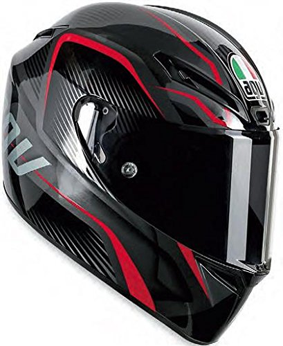 AGV GT-Veloce TXT Full Face Motorcycle Helmet (Black/Red, Large)