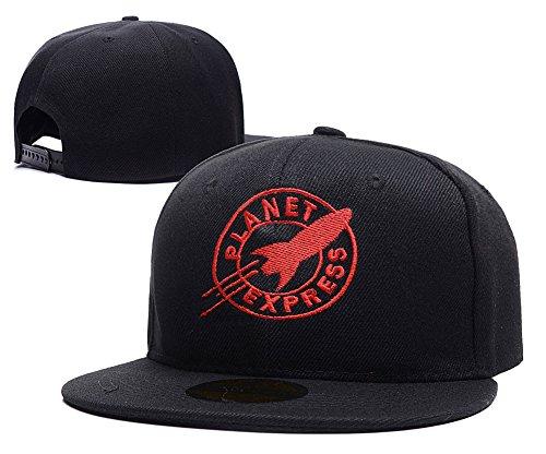 HAIHONG Futurama Planet Express Logo Adjustable Snapback Embroidery Hats Caps - Black