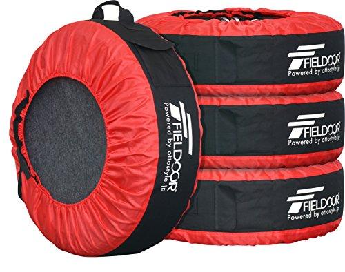 FIELDOOR タイヤバッグ タイヤトート タイヤカバー 4枚セット/フェルトパッド1枚付き (22-30インチタイヤ対応)