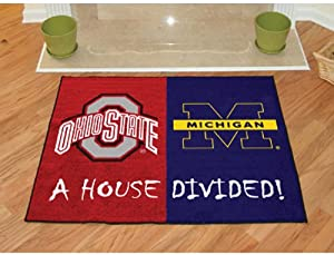 "Fanmats Home Indoor sports Team Logo Mat Ohio State - Michigan House Divided Rugs 34""x45"""