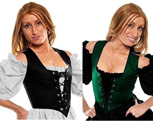 Renaissance Wench Halloween Costume Irish Peasant Reversible Bodice Green/Black