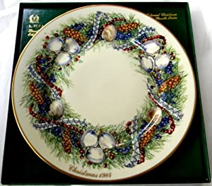 Lenox 1984 Colonial Christmas Wreath Plate Rhode Island the Fourth Colony