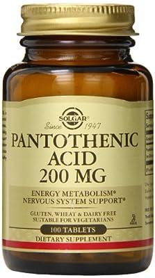 Solgar Pantothenic Acid Tablets, 200 mg, 100 Count