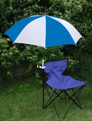 Royal Blue/White Clamp On Chair Umbrella for Aluminum or Canvas Folding Chairs - Great for Vacations, Car Shows, Softball and Soccer Games!