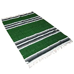 "54"" X 80"" Forest Green Mexican Yoga Blanket"