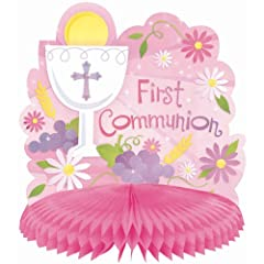 First Communion Pink Centerpiece 9.5