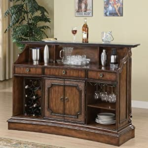 Marble Top Bar in Brown Finish by Coaster