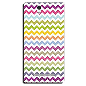 Mozine Green Pink Zigzag Pattern printed mobile back cover for Sony Xperia C3