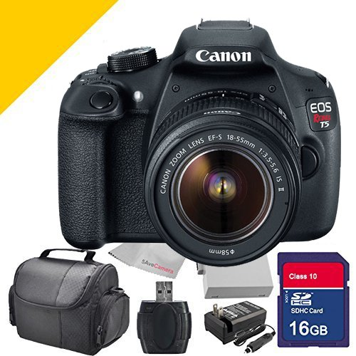 Canon T5 Rebel EOS Digital Camera with 18-55mm Lens, with Extra Battery, Charger , Camera Case and 16GB SDHC Class 10 Memory Card and Card Reader