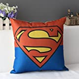 "Duole Cotton Linen Square Decorative Cushion Cover Sofa Throw Pillowcase 18"" X 18"" Supermen"