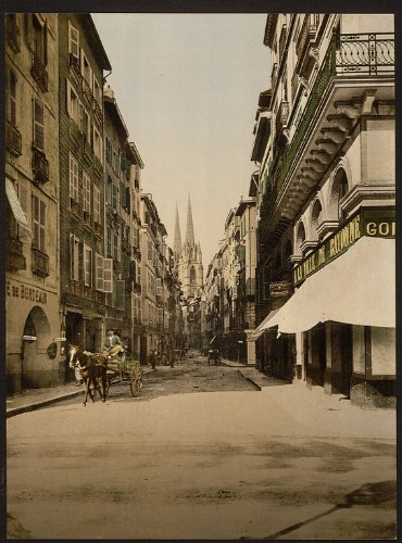 Vue-de-Port-Vintage-neuf-bayonne-Pyrnes-France-grande-taille-A3-41-par-29-cm-photo-sur-toile