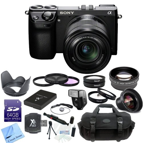 Sony Nex-7 Nex7Kb Nex7K Nex7 24.3 Mp Compact Interchangeable Lens Camera With 18-55Mm Lens & Cs Pro Lens Kit: Includes High Definition Wide Angle Lens, Telephoto Hd Lens, 3 Piece Filter Kit, 4 Piece Macro Lens Kit, Tulip Lens Hood, Lens Cap Keeper, Slave