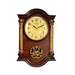 Elegant High Quality Grandfather Clock with Swinging Pendulum, For Dining Room/Living Room or Office. Color Mahogany, Gold, Wood Wall Clock