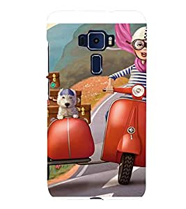 ANIMATED BOY AND A PET TRAVELLING ON A VACATION 3D Hard Polycarbonate Designer Back Case Cover for Asus Zenfone 3 ZE552KL::Asus Zenfone 3 (5.5 INCHES)